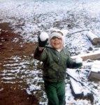 David with snow balls